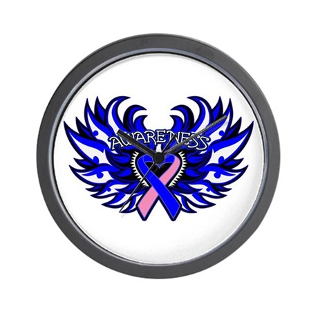 Male Breast Cancer Heart Wings Wall Clock