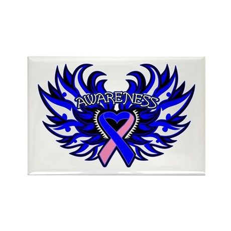 Male Breast Cancer Heart Wings Rectangle Magnet