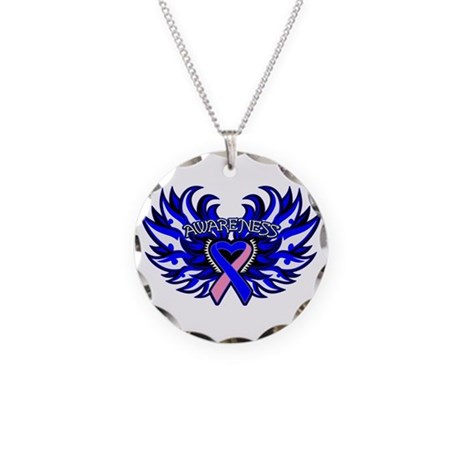 Male Breast Cancer Heart Wings Necklace Circle Cha