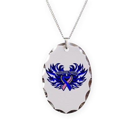 Male Breast Cancer Heart Wings Necklace Oval Charm