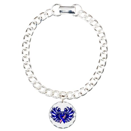 Male Breast Cancer Heart Wings Charm Bracelet, One