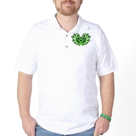 Lymphoma Heart Wings Golf Shirt