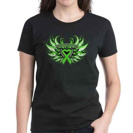 Lymphoma Heart Wings Women's Dark T-Shirt