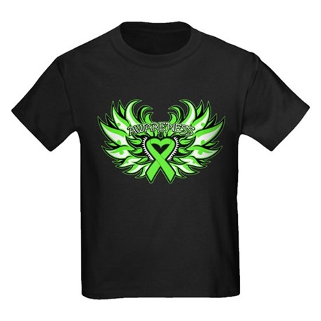 Lymphoma Heart Wings Kids Dark T-Shirt