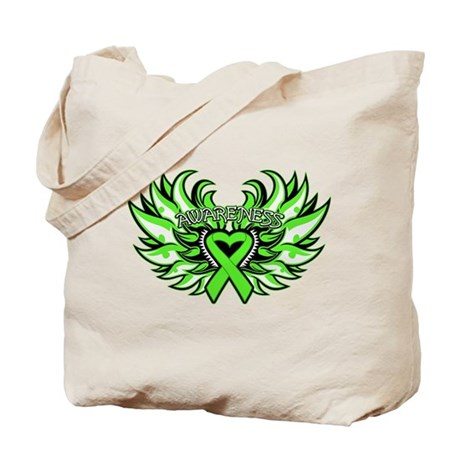 Lymphoma Heart Wings Tote Bag