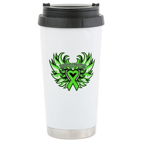 Lymphoma Heart Wings Ceramic Travel Mug