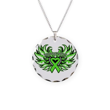 Lymphoma Heart Wings Necklace Circle Charm