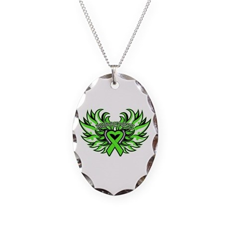 Lymphoma Heart Wings Necklace Oval Charm