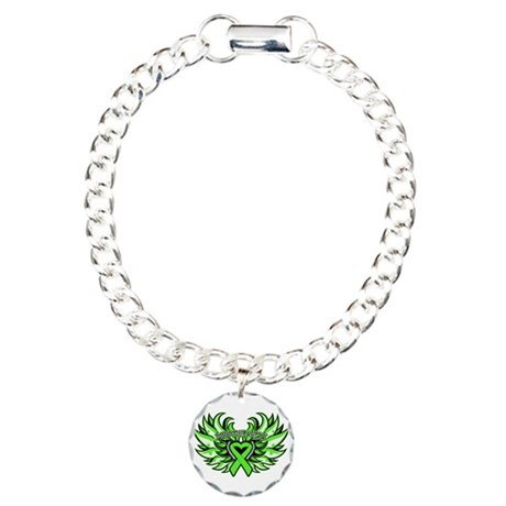 Lymphoma Heart Wings Charm Bracelet, One Charm