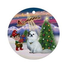 Santa's Take Off & Tibby Spaniel Ornament (Round)