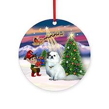 Santa's Take Off & Tibby Spaniel Ornament (Round)