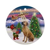 Santa's Take Off &amp; Rhodesian Ornament (Round)