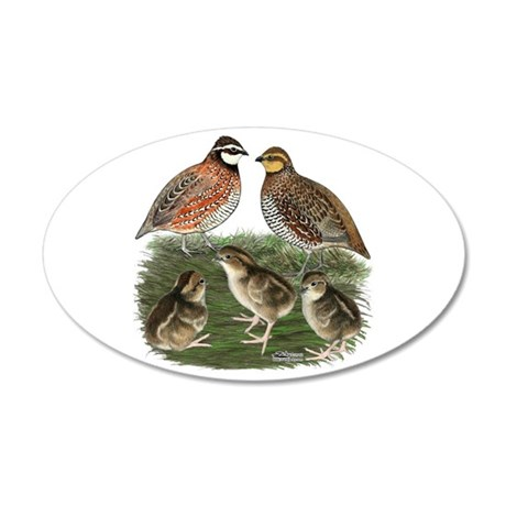 Bobwhite Family 35x21 Oval Wall Decal