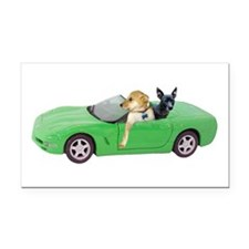 Dogs Green Car Rectangle Car Magnet