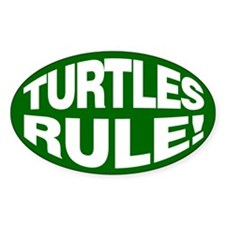 3x5 Turtles Rule Oval Decal