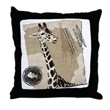 Vintage Giraffe Throw Pillow