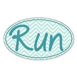 Run Blue Chevron Decal