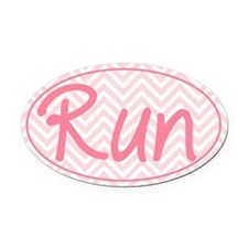 Run Pink Chevron Oval Car Magnet