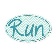 Run Blue Chevron Oval Car Magnet