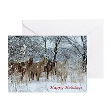 Winter Horses Happy Holiday Greeting Card