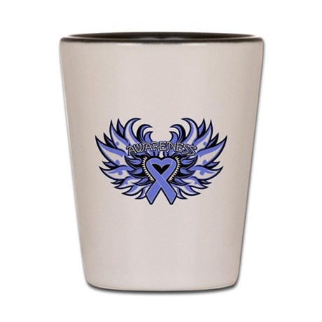 Intestinal Cancer Heart Wings Shot Glass