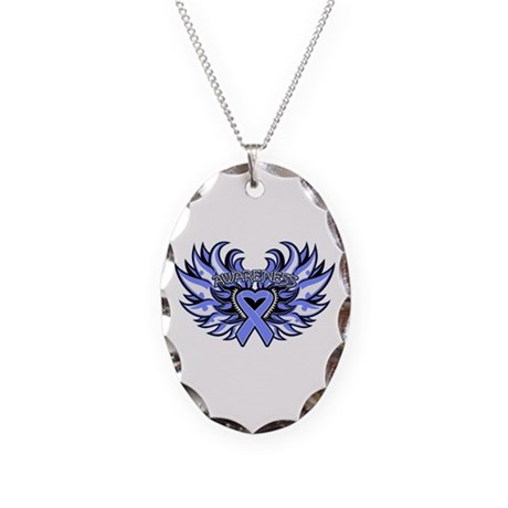 Intestinal Cancer Heart Wings Necklace Oval Charm