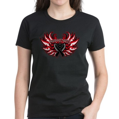Melanoma Heart Wings Women's Dark T-Shirt