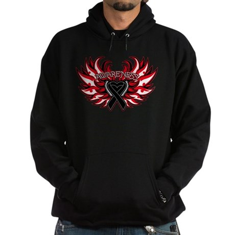 Melanoma Heart Wings Hoodie (dark)