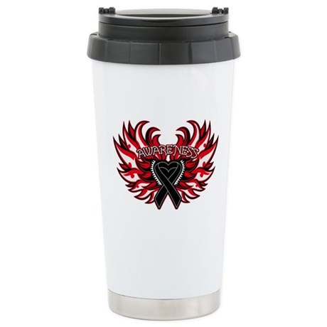 Melanoma Heart Wings Ceramic Travel Mug