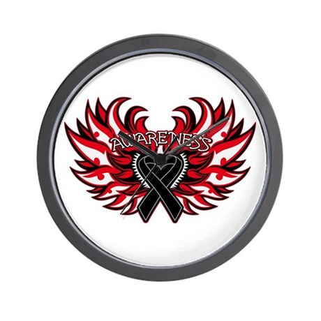 Melanoma Heart Wings Wall Clock