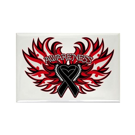 Melanoma Heart Wings Rectangle Magnet