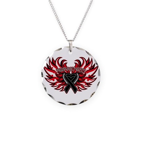 Melanoma Heart Wings Necklace Circle Charm