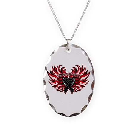 Melanoma Heart Wings Necklace Oval Charm