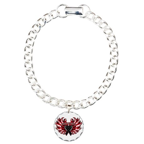 Melanoma Heart Wings Charm Bracelet, One Charm