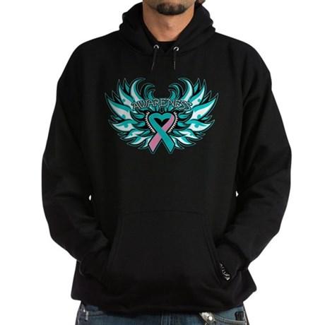 Hereditary Breast Cancer Heart Wings Hoodie (dark)