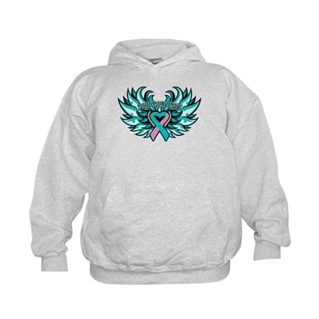 Hereditary Breast Cancer Heart Wings Kids Hoodie