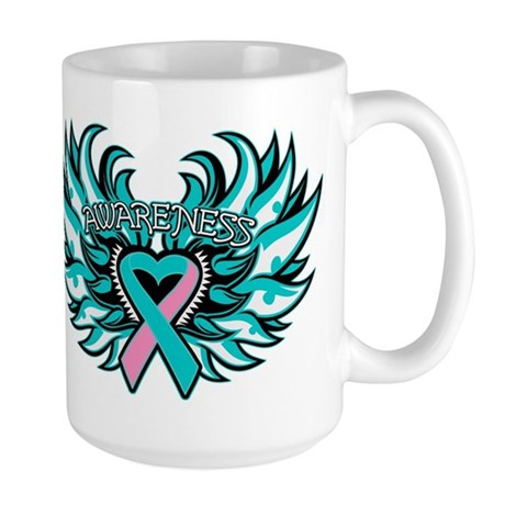 Hereditary Breast Cancer Heart Wings Large Mug