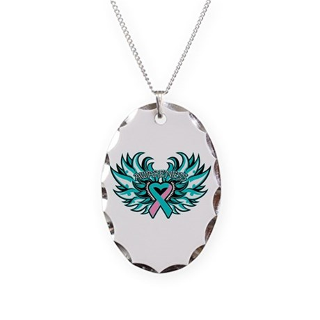 Hereditary Breast Cancer Heart Wings Necklace Oval