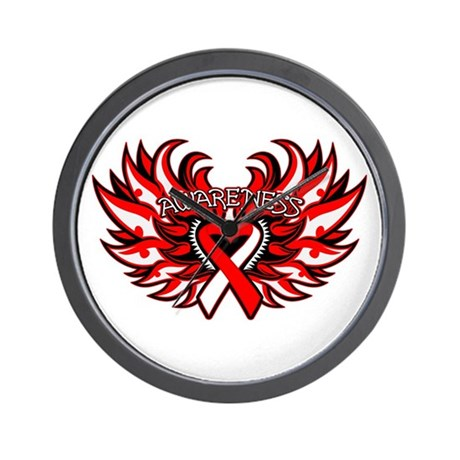 Squamous Cell Carcinoma Heart Wings Wall Clock