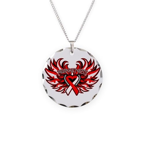 Squamous Cell Carcinoma Heart Wings Necklace Circl