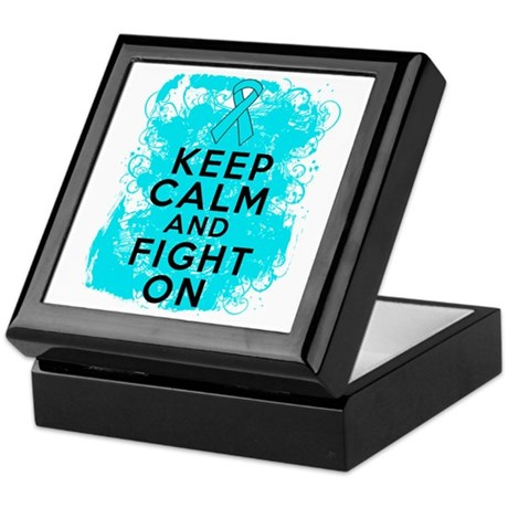 Addiction Recovery Keep Calm Fight On Keepsake Box