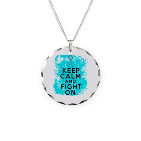Addiction Recovery Keep Calm Fight On Necklace Cir