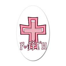 Cute Pink Polka Dot Faith Cross 20x12 Oval Wall De