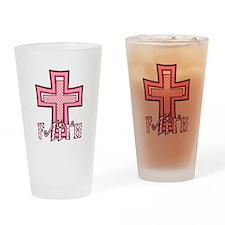 Cute Pink Polka Dot Faith Cross Drinking Glass