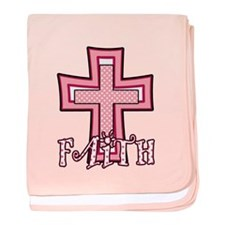 Cute Pink Polka Dot Faith Cross baby blanket