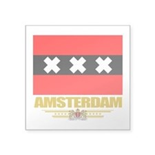 "Amsterdam (Flag 10).png Square Sticker 3"" x 3"""