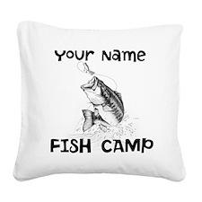 Personlize Fish Camp Square Canvas Pillow