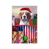 Beagle Claus Christmas Rectangle Magnet