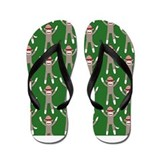 Green Sock Monkey Print Flip Flops