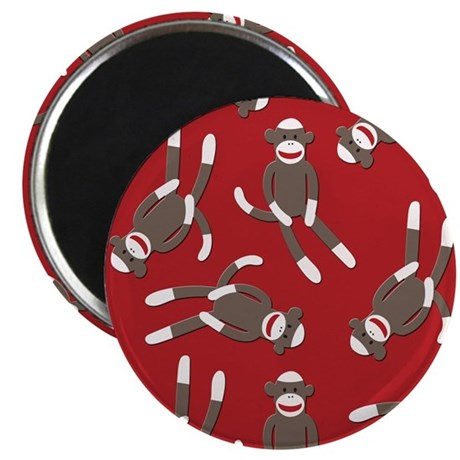 "Red Sock Monkey Print 2.25"" Magnet (100 pack)"